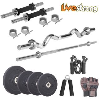 LIVESTRONG 50 KG WEIGHT WITH 5 FT PLAIN + 3 FT CURL ROD + ACCESSORIES