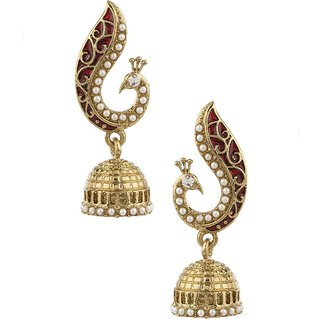 Bhola Traditional Peacock Jhumkis Pearl Alloy Jhumki Earring