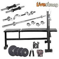 LIVESTRONG 80 KG WEIGHT + 3 IN 1 BENCH + HOME GYM COMBO