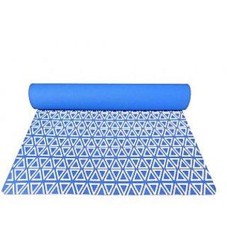 Gravolite 7 Mm Thickness 2.5 Feet Wide 6 Feet Length Triangle Print Design German Blue Yoga Mat