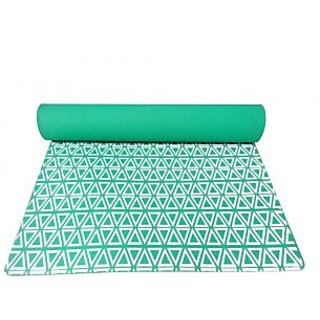 Gravolite 7 Mm Thickness 2.5 Feet Wide 6 Feet Length Triangle Print Design Green Yoga Mat