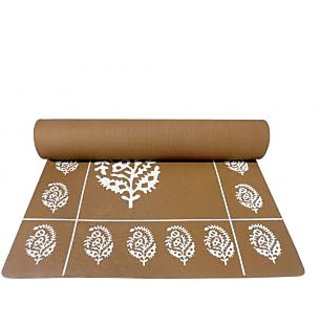 Gravolite 9Mm Thickness 2.5 Feet Wide 6 Feet Length Brown Floral Yoga Mat With Strap Carry Bag