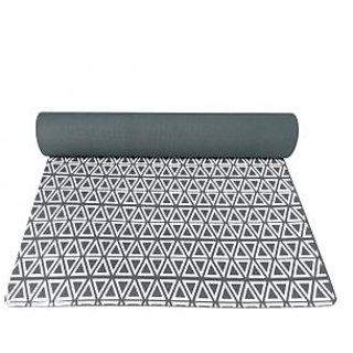 Gravolite 5 Mm Thickness 2 Feet Wide 6 Feet Length Triangle Print Design Dark Green Yoga Mat