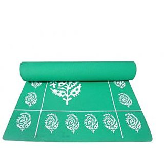 Gravolite 3Mm Thickness 2 Feet Wide 6 Feet Length Dark Green Floral Yoga Mat With Strap Carry Bag