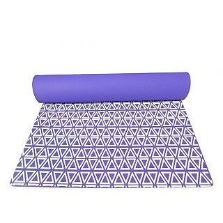 Gravolite 5 Mm Thickness 2 Feet Wide 6.5 Feet Length Triangle Print Design Purple Yoga Mat