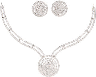 Tremendous Silverwala Silver Cubic Zirconia Rodium Plated Necklace Set