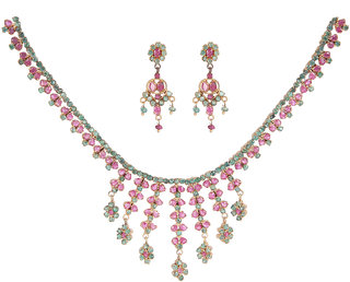Tarditional Silverwala Silver Plated Real Ruby And Emerald  Necklace Set