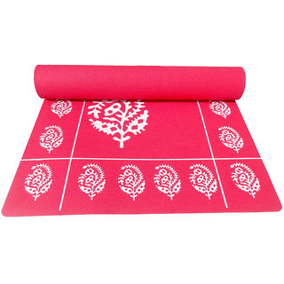 Gravolite 9Mm Thickness 3 Feet Wide 6.5 Feet Length Red Floral Yoga Mat With Strap Carry Bag