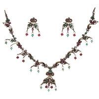 Attractive Silverwala Silver Victorian Cubic Zirconia Rodium Plated Necklace Set