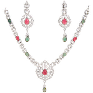 Casual Silverwala Silver Cubic Zirconia Rodium Plated Necklace Set