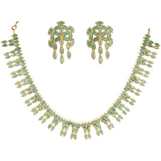 Amazing Silverwala Silver Real Emerald Stone Gold Plated Necklace Set