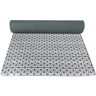 Gravolite 8 Mm Thickness 2.1 Feet Wide 6.5 Feet Length Triangle Print Design Dark Green Yoga Mat