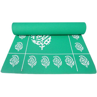 Gravolite 6Mm Thickness 2.3 Feet Wide 6.5 Feet Length Dark Green Floral Yoga Mat With Strap Carry Bag