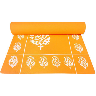 Gravolite 4Mm Thickness 2.3 Feet Wide 6 Feet Length Orange Floral Yoga Mat With Strap Carry Bag