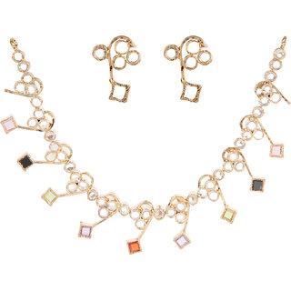 Ravishing Silverwala Silver Cubic Zirconia Gold Plated Necklace Set