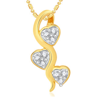 Vk Jewels Three Tiny Heart Valentine Gold   Alloy Pendant For Women  Girls-  P1991G Vkp1991G