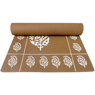 Gravolite 12Mm Thickness 2.3 Feet Wide 6 Feet Length Brown Floral Yoga Mat With Strap Carry Bag