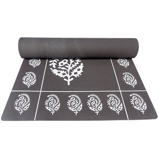 Gravolite 11Mm Thickness 3 Feet Wide 6.5 Feet Length Grey Floral Yoga Mat With Strap Carry Bag
