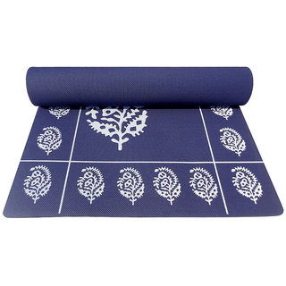Gravolite 12Mm Thickness 2.5 Feet Wide 6.5 Feet Length Navy Blue Floral Yoga Mat With Strap Carry Bag