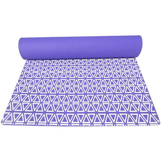 Gravolite 10 Mm Thickness 3 Feet Wide 6 Feet Length Triangle Print Design Purple Yoga Mat