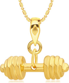 Vk Jewels Sultan Collection Sports N Fitness Barbell Dumbell Gold Plated Alloy Pendant With Chain For Men  Boys - P2154G Vkp2154G