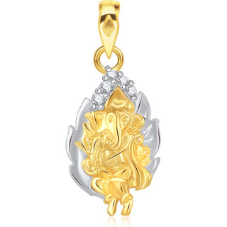 Vk Jewels Shree Ganesh In Leaf Pendant Gold And  -  P1895G Vkp1895G