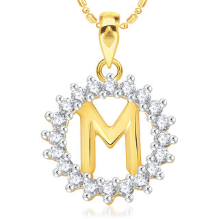 Vk Jewels Alphabet Initial Letter M  Pendant With Chain For Men  Women- P1959G Vkp1959G