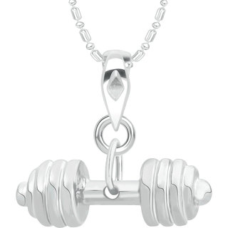 Vk Jewels Sultan Collection Sports N Fitness Barbell Dumbell  Alloy Pendant With Chain For Men  Boys - P2162R Vkp2163R