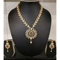 Gold Plated Necklace Set For Women With Earrings