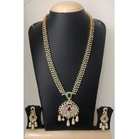 Gold Plated Necklace Set For Women Red And Green.