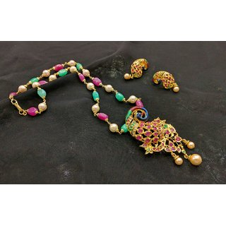 Peacock Gold Plated Necklace Set For Women