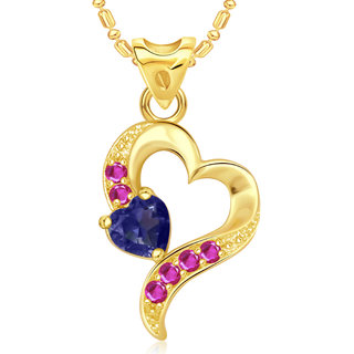 Vk Jewels Dazzling Heart Valentine Gold Plated Pendant - P1807G Vkp1807G