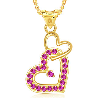Vk Jewels Attach Heart Valentine Gold Plated Pendant  - P1809G Vkp1809G