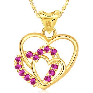 Vk Jewels Three Heart Valentine Gold Plated Pendant  - P1817G Vkp1817G