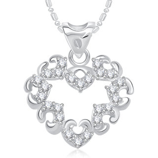 Vk Jewels Splendid Heart Valentine Rhodium Plated Pendant -  P1838R Vkp1838R