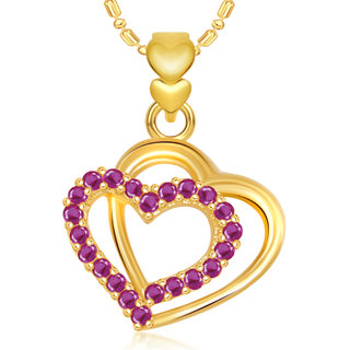 Vk Jewels Double Heart Valentine Gold And  Pendant -  P1899G Vkp1899G