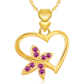 Vk Jewels Butterfly Heart Valentine Gold And  Pendant -  P1901G Vkp1901G