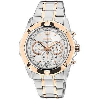 Seiko Round Dial Multi Strap Chronograph Watch For Men