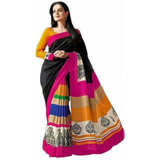 Snapshopee Multicolor Silk Printed Saree With Blouse