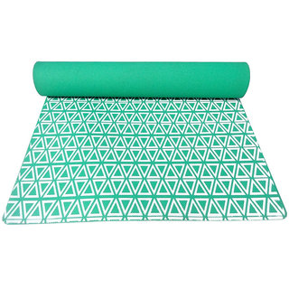 Gravolite 3 Mm Thickness 2.1 Feet Wide 6 Feet Length Triangle Print Design Green Yoga Mat