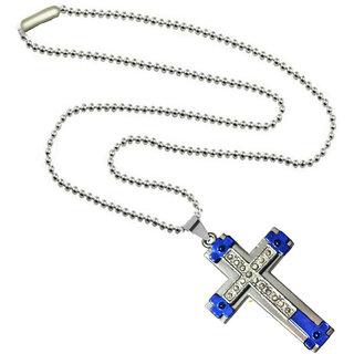 Men Style 2016 New Crystal Jesus Cross  Blue  Stainless Steel Cross Pendent For Men And Women