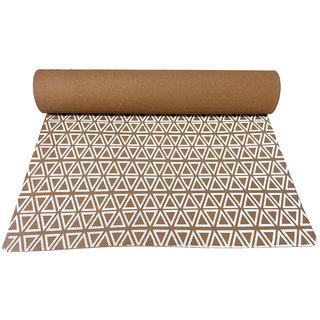 Gravolite 4 Mm Thickness 2.1 Feet Wide 6 Feet Length Triangle Print Design Brown Yoga Mat