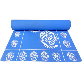 Gravolite 12Mm Thickness 3 Feet Wide 6 Feet Length German Blue Floral Yoga Mat With Strap Carry Bag