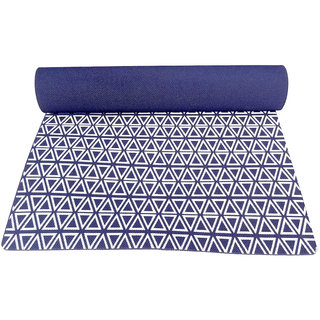 Gravolite 3 Mm Thickness 3 Feet Wide 6 Feet Length Triangle Print Design Navy Blue Yoga Mat