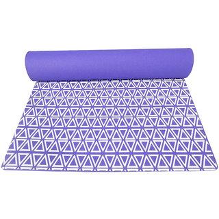 Gravolite 3 Mm Thickness 2.1 Feet Wide 6 Feet Length Triangle Print Design Purple Yoga Mat