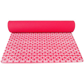Gravolite 4 Mm Thickness 2.1 Feet Wide 6.5 Feet Length Triangle Print Design Red Yoga Mat