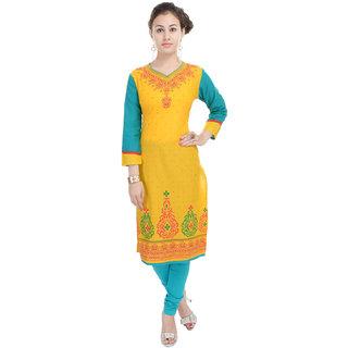 Beautiful Rayon  Khadi Printed Yellow Color Kurti from the House of Heritage Jaipur