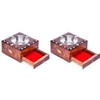 Onlineshoppee Wooden Beautiful Design Ashtray + Cig. Case,Pack Of 2