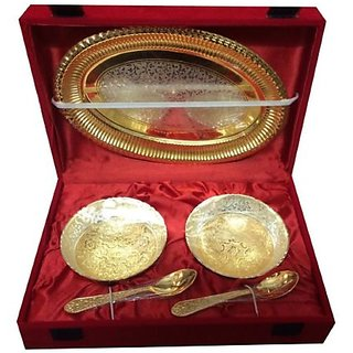 Craft India 5pcs Decorative bowl set with tray-gold finish