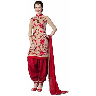 Women's Printed Unstitched Regular Wear Dress Material Red  Cream